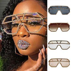 Shiny Geometric Mono Lens Bling Rhinestone Sunglasses