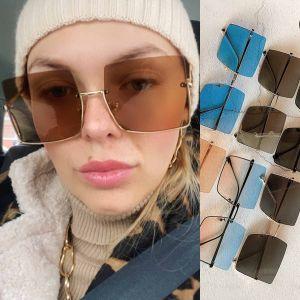 Modern Half Frame Square Sunglasses Gradient Shades