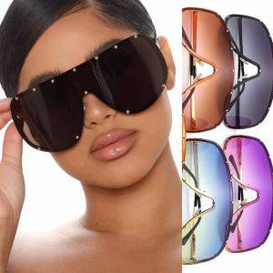 Oversized Studs Metal Frame Shield Sunglasses