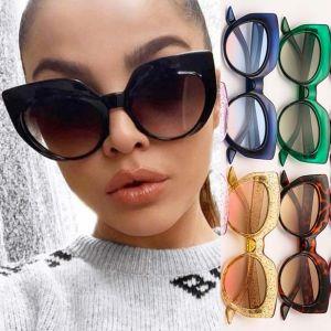 Cat eye sunglasses vibrant tint oversized bold frame
