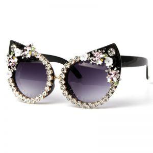 BLING Oversized Baroque Cat Eye Diamond Sunglasses