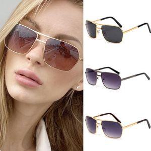 Chic Metal Frame Rectangle Gradient Pilot Sunglasses