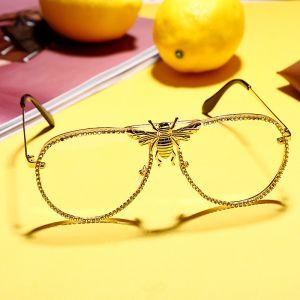 Luxury Rhinestones Bling Aviator Gold Bee Sunglasses