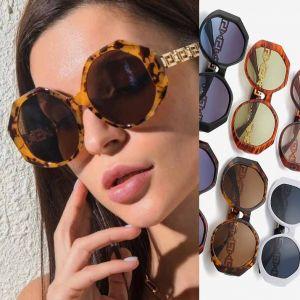 Gold tone retro temples oversized round sunglasses