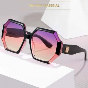 Multicolored big frame gradient tint heptagon sunnies