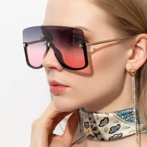 Half Frame One Piece Lens Oversize Goggle Sunglasses