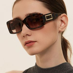 Gold Tone Logo Acetate Bold Frame Rectangle Sunglasses