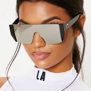 Modern Acetate Frame Flat Top One Piece Sunglasses