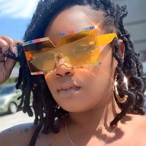 Diamante large frame oversized women luxury sunglasses