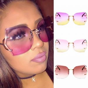 Rimless Faceted Lens Oversized Gradient Sunglasses