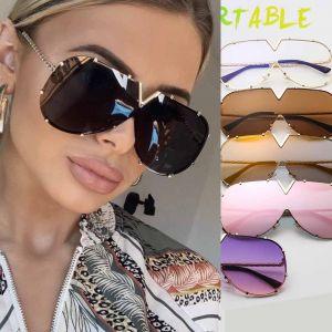 Mod Aviator Sunglasses Geometric Shades Rimless Lens