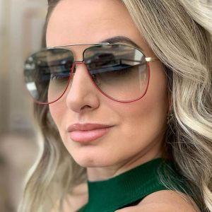 Gold Tone Twist Temples Aviator Sunglasses Metal Frame