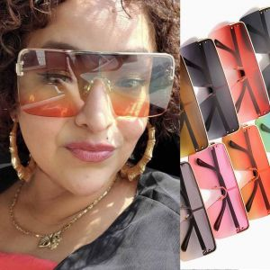 Flat Top Square Frame Futuristic Shield Sunglasses
