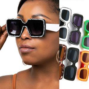 Multicolored Square Cute Oversized Girls Sunglasses