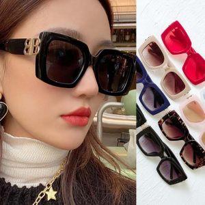 Luxury Square Fashion Double B Hinge Women Sunglasses