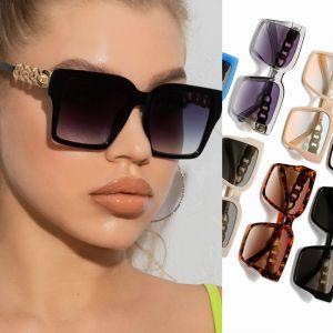 Gold Tone Chain Legs Oversized Square Sunglasses