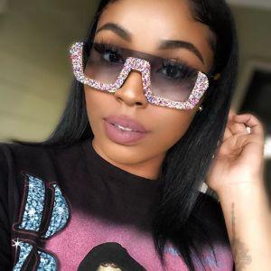 Half frame flat top bling sunglasses luxury shades