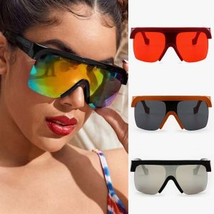 Futuristic Mono Lens Visor Shield Mirrored Sunglasses