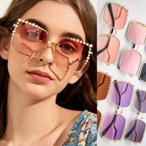 Zigzag Legs Vogue Oversized Square Pearl Sunglasses