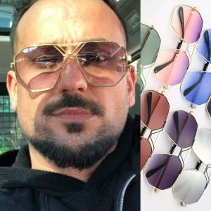 V nose bridge metal frame heptagon gradient sunglasses