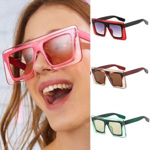 Flat Top Multicolored Frame Square Fun Sunglasses