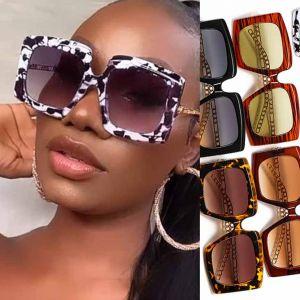 Oversized Square Sunglasses Gold Tone Twist Temples
