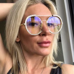 Oversized Sunglasses Luxury Round Women Diamante Shades