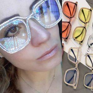 Bling Luxury Oversized Rectangle Clear Lens Glasses