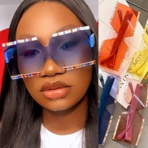 Bling Diamante Chic Rimless Square Sunglasses